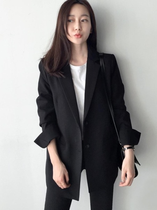 Plain Casaul One Button Women's Blazer