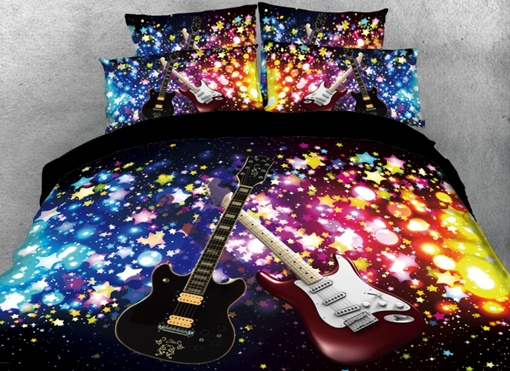 Sparkle Cool Guitar Printed 4-Piece Black 3D Bedding Sets/Duvet Covers