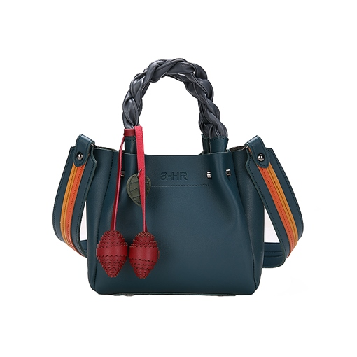 Distinctive Pendant Knitted Handle Women PU Tote