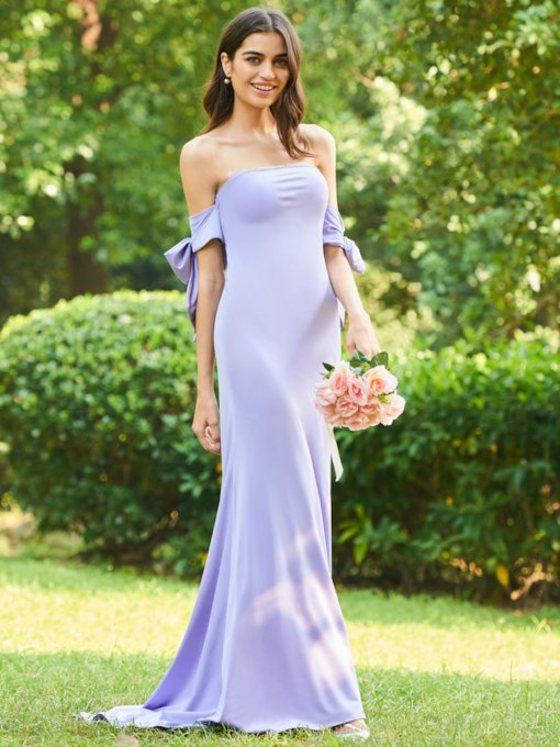 Off the Shoulder Lace Back Long Bridesmaid Dress