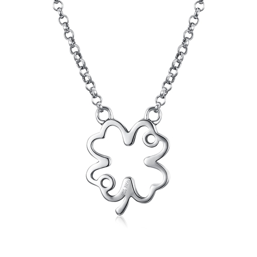 Clover Hollow Out Fine Silver Pendant Necklace