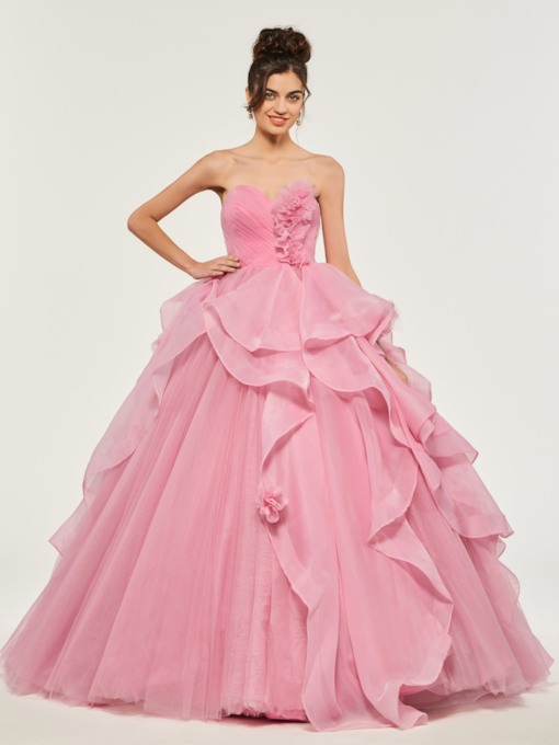 Sweetheart Empire Appliques Ruffles Quinceanera Dress
