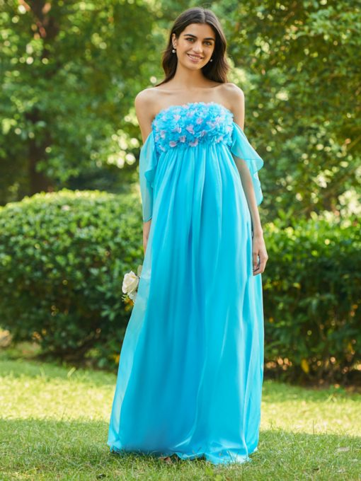 Strapless Flowers Empire Waist Bridesmaid Dress