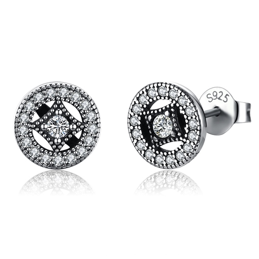 Round Square Zircon Inlaid Silver Earrings