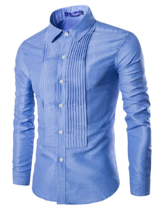 Unique Wrinkle Lapel Men's Leisure Shirt