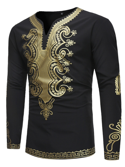 Dashiki Gold Print Round Collar Slim Men's T-Shirt