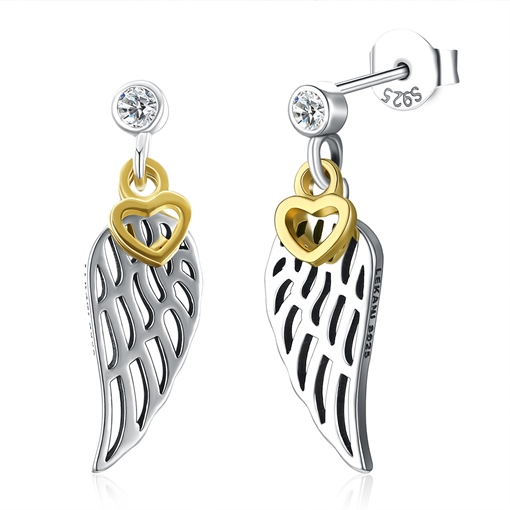 Wing Heart Design Fine Silver Earrings