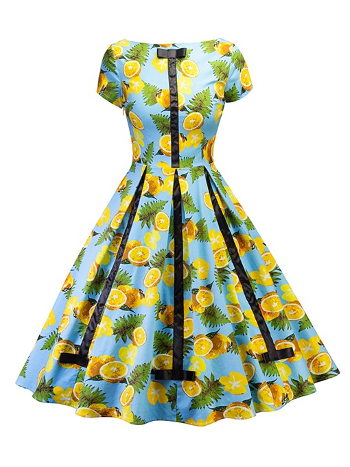 Sky Blue Lemon Pattern Women's Day Dress
