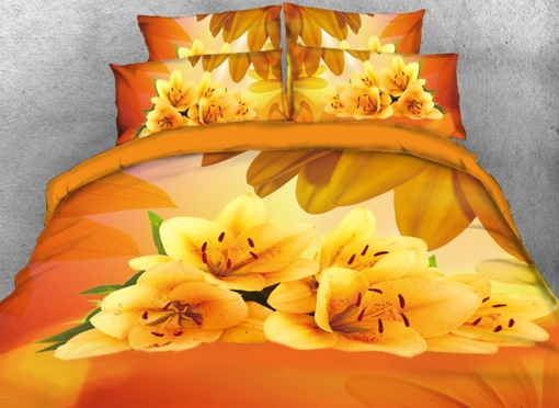 3D Yellow Lily Printed 4-Piece Bedding Sets/Duvet Covers