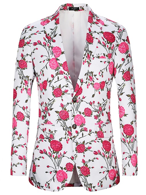Notched Collar Rose Print Slim Men's Blazer