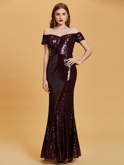 Off-the-Shoulder Sequins Mermaid Evening Dress