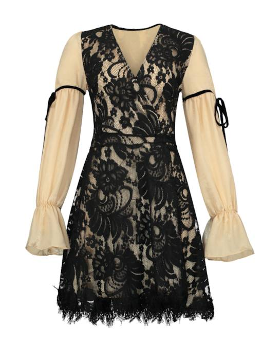 V-Neck Color Block Women's Lace Dress