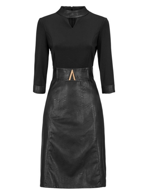 Black V-Neck Long Sleeve Women's Bodycon Dress