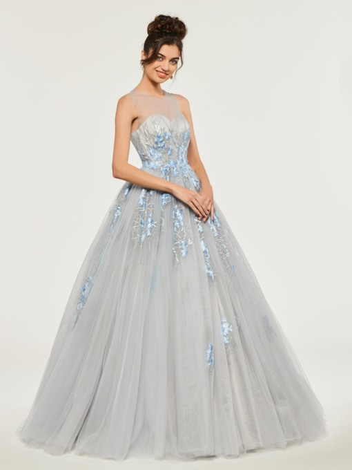 Sheer Neck Lace Appliques Quinceanera Dress