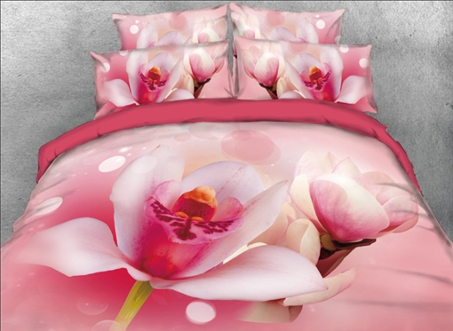 Pink Lotus Printed 4-Piece 3D Bedding Sets/Duvet Covers
