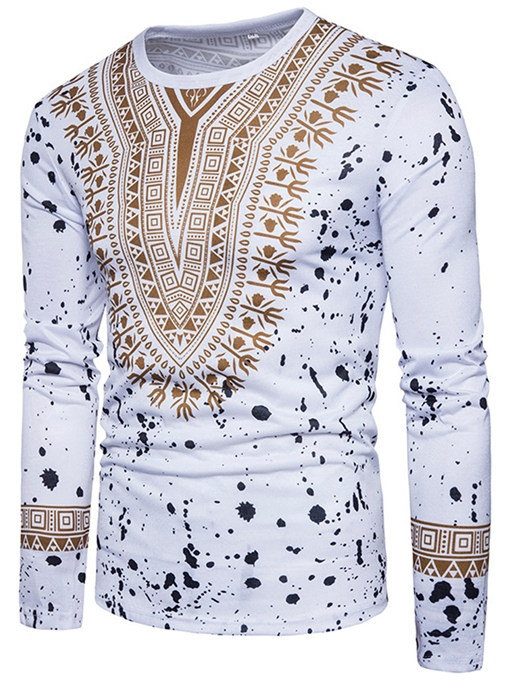 Dashiki Print Round Color Slim Men's T-Shirt