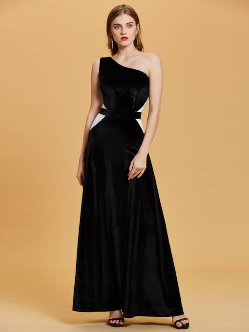 One-Shoulder Sequins A-Line Evening Dress