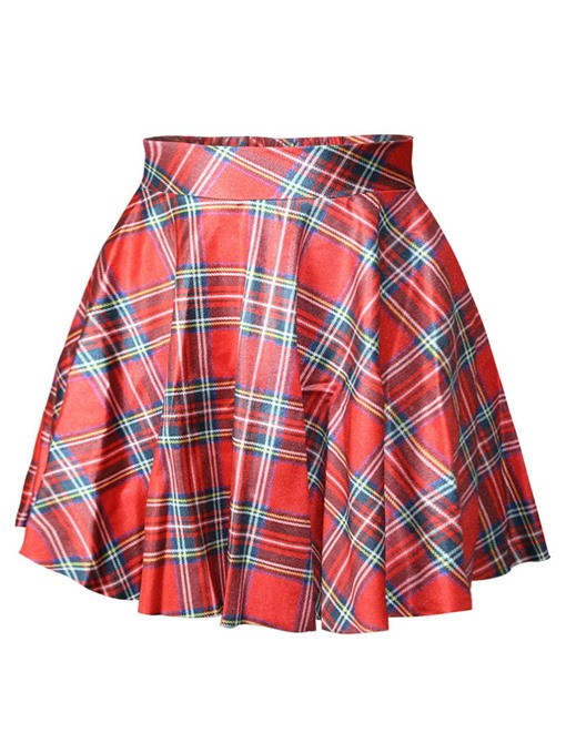 Plaid Print Color Block A-Line Women's Mini Skirt