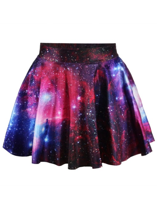 Fashion Starry Sky Printed Galaxy Ball Gown Women's Mini Skirt