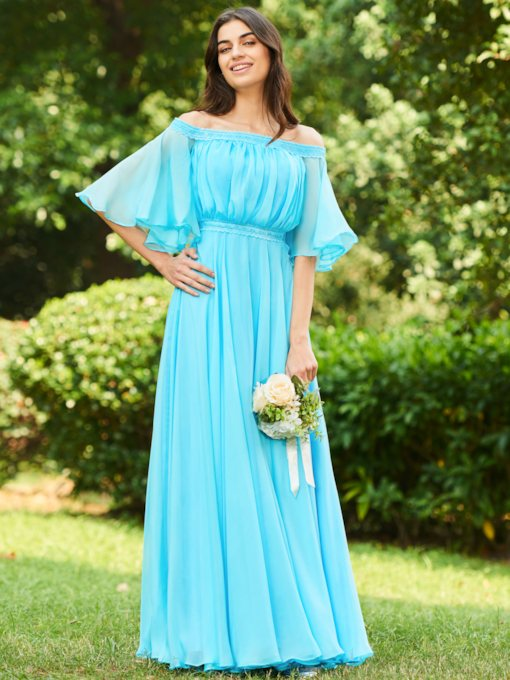 Lace Off the Shoulder Half Sleeves Bridesmaid Dress