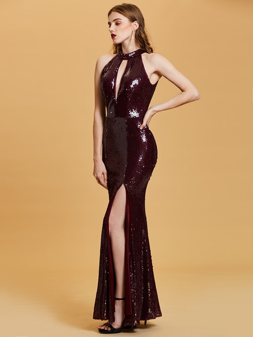 Halter Neck Sequins Mermaid Evening Dress