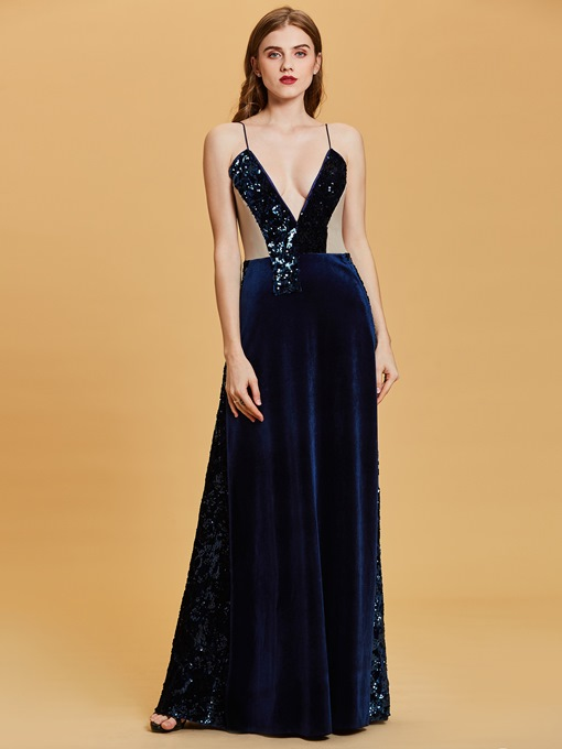 Velvet Spaghetti Straps Sequins A Line Evening Dress