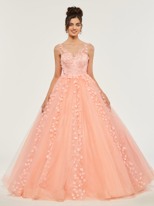 Flowers Lace Empire Floor-Length Quinceanera Dress