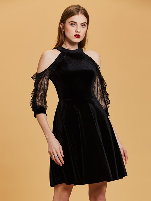 Open Shoulder Lace A Line Velvet Cocktail Dress