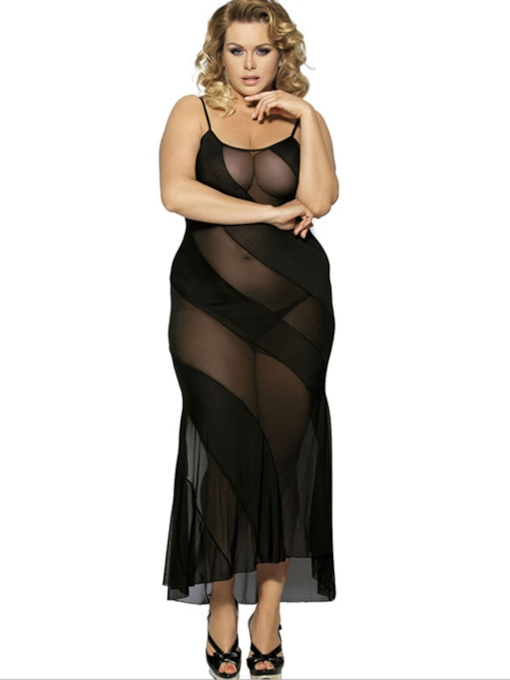 Spaghetti See-Through Lace Plus Size Babydoll