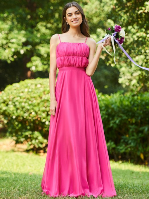 Spaghetti Straps Ruched Long Bridesmaid Dress