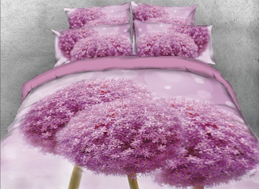 Fancy Purple Round Flowers Printed 4-Piece 3D Bedding Sets/Duvet Covers