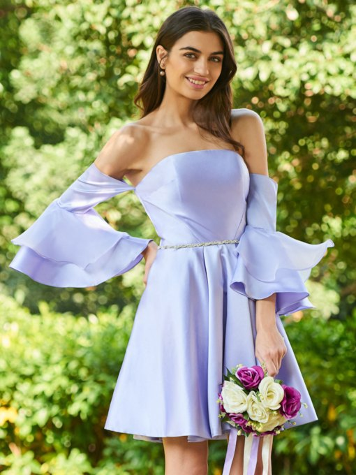 Tiered Sleeves Beaded Short Bridesmaid Dress