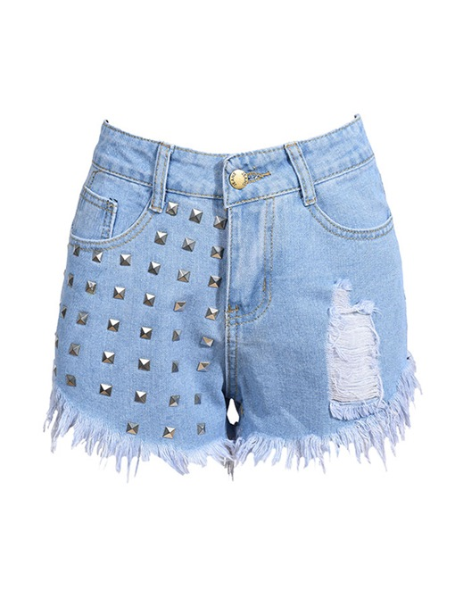 Plain Hole Tassel High-Waist Rivet Women's Shorts