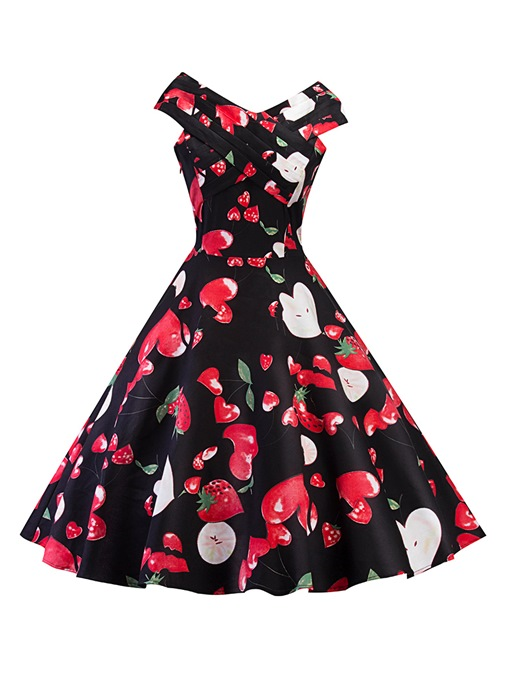 Black Strawberry Pattern Women's Day Dress