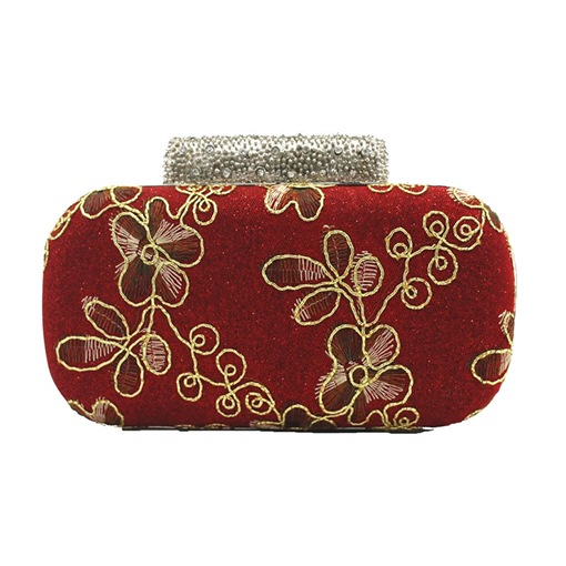 Elegant Embroidery Rhinestone Mini Clutch