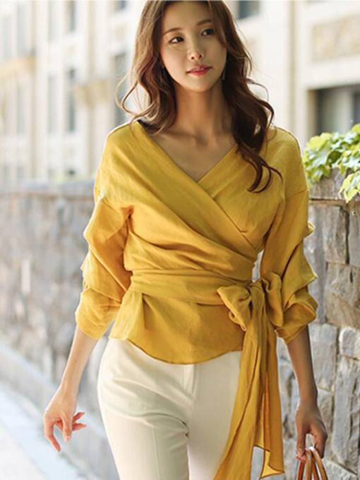 Ruffle Loose Self Lace-Up Wrap Top Women's Blouses