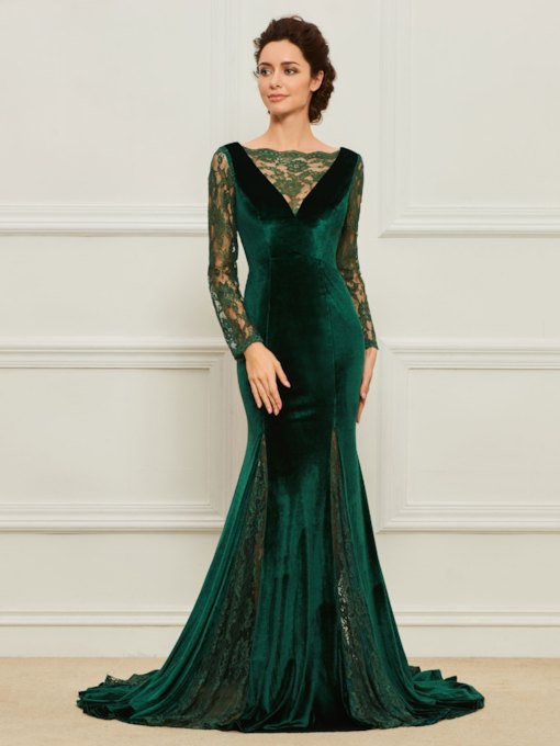 Velvet Lace Mermaid Long Sleeve Mother of the Bride Dress