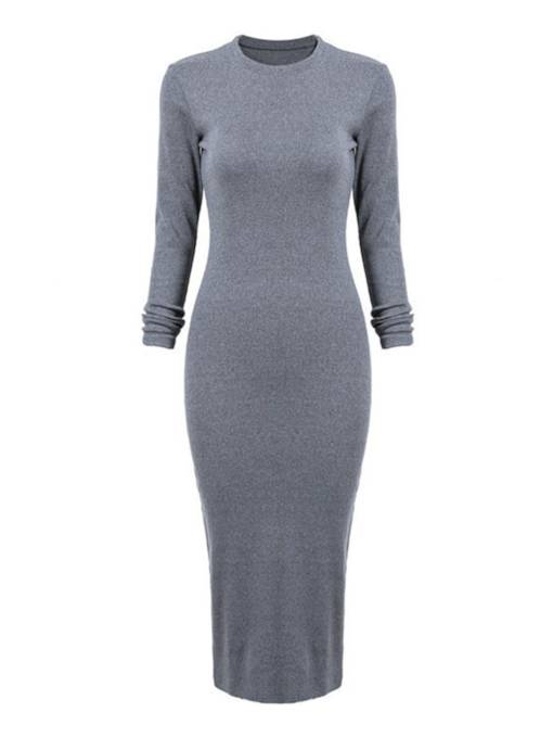 Gray Back Split Women's Bodycon Dress
