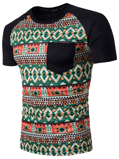 Ethnic Round Collar Men's Short Sleeve T-Shirt