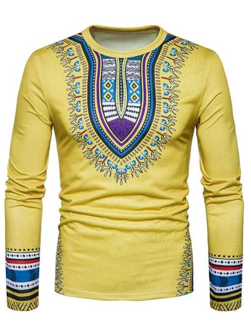 Dashiki Print Plain Slim Men's T-Shirt