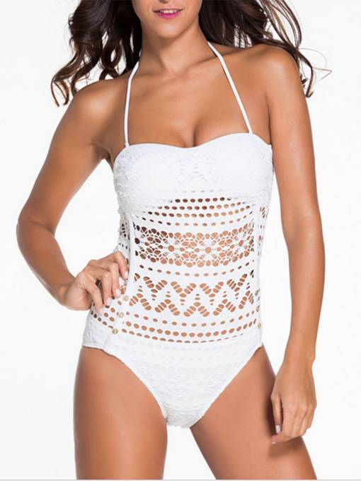 Lace Hollow Lace-Up One-Piece Swimsuit