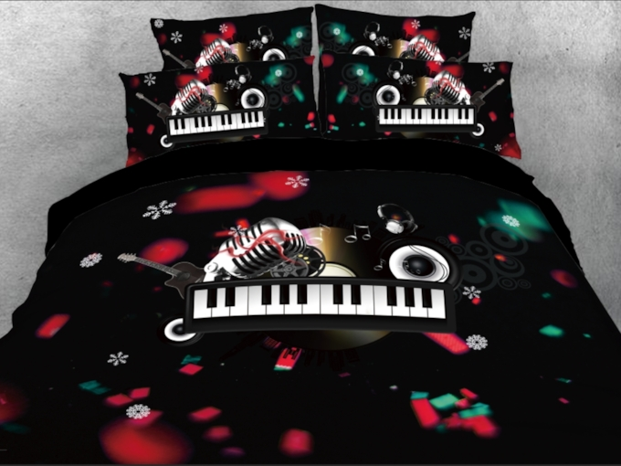 Christmas Microphone and Keyboard Melody Printed 4-Piece 3D Bedding Sets/Duvet Covers