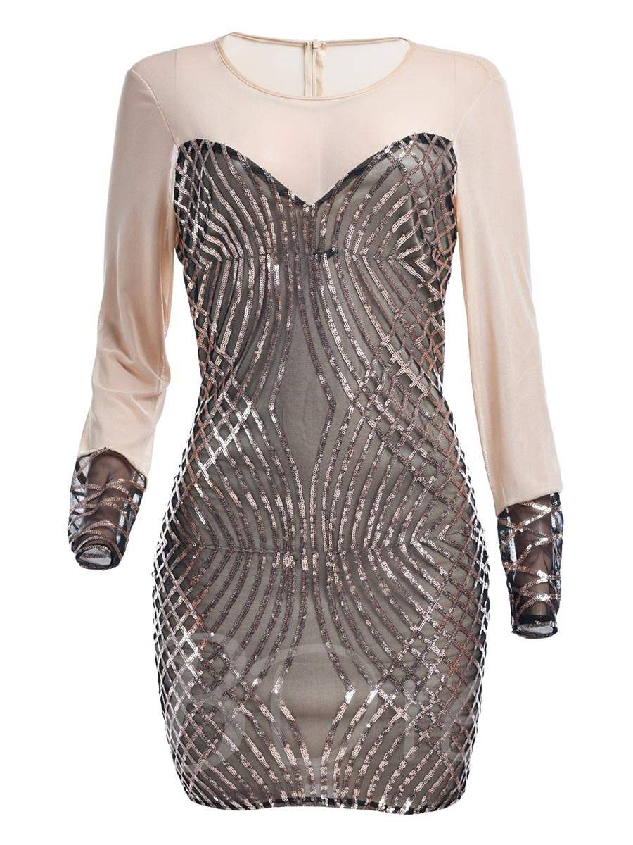 Patchwork See-Through Sequins Women's Bodycon Dress, Spring,Summer,Fall,Winter, 13067798