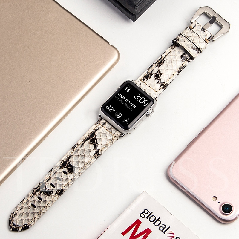Apple montre intelligente bande peau de serpent motif cuir bracelet pour iwatch 3/2/1