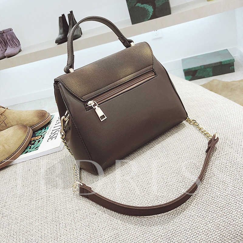 Concise Solid Color Soft PU Women Tote