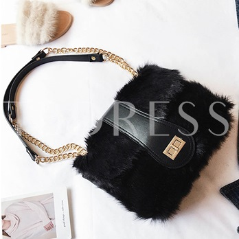 Trendy Solid Color Plush Zipper Cross Body Bag