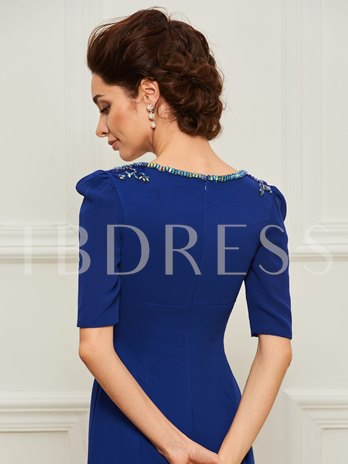 Half Sleeve Beaded Mother of the Bride Dress