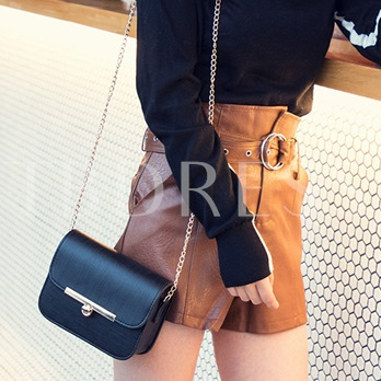 Casual Solid Color Chain Crossbody Bag