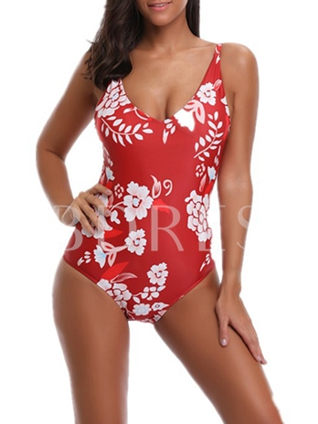 Bandage Flower Print Backless One-Piece Swimsuit