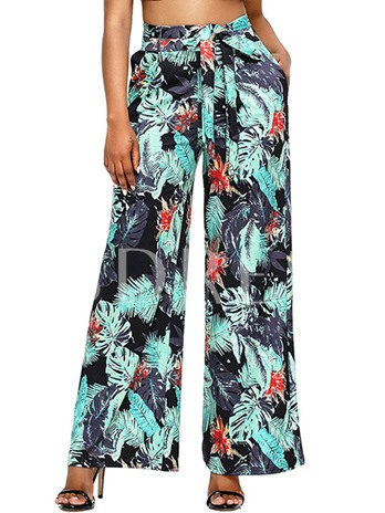 Floral Print High-Waist Lace-Up Bowknot Women's Casual Pants